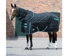 Weatherbeeta - Couverture d'écurie matelassée avec couvre-cou détachable COMFITEC PP - Cheval (165 cm) (Noir / turquoise) - UTWB221 - Selle et tapis de selle