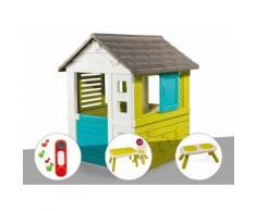 Cabane enfant Pretty - Smoby + Sonnette + Table et 2 chaises + Banc - Maisons de jardin