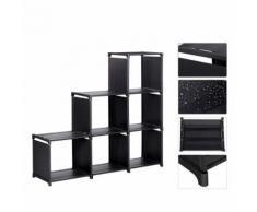 Étagère Meuble - Meerveil - Armoire de Rangement Ouvert Bibliothèque Escalier 6 Cubes en Metal Tissu Intissé pour Salon Chambre Noir - Étagère