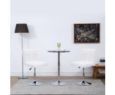 Meelady Chaise Pivotante à Dîner 2 pcs Similicuir Design Moderne pour Salles de Bain, Bureaux, Salon 50x43x85 cm Blanc - Chaise