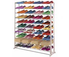 Étagère à chaussures en plastique, coloris : blanc, Dim : H140 x L72 x P25 cm -PEGANE- - Meubles à chaussures