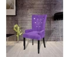 Meelady Chaise Capitonnée Velours Violet 54 x 56 x 106 cm - Chaise