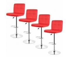 4 PCS tabourets de bar, Chaise de bar PU Rouge pivotante Réglable - Tabourets