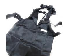 Tablier de cuisine 'Just Married' noir satiné + noeud papillon - Autres