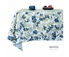 Deconovo Nappe Jardin Rectangulaire Nappe Salon de Jardin à Motifs Nappe Semi Imperméable Bleu 130x280cm Nappe Salle à Manger Cuisine - Linge de table