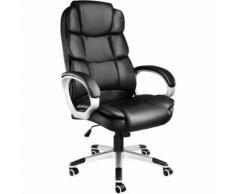 TECTAKE Fauteuil de Bureau design pivotant ergonomique Dossier rembourré Hauteur d'assise réglable 47 cm à 55 cm Noir - Sièges et fauteuils de bureau
