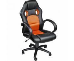 TECTAKE Chaise de bureau Fauteuil de bureau RACING SPORT Noir / Orange Rembourrage Épais - Hauteur Réglable - Pivotante - Sièges et fauteuils de bureau