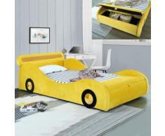 Lit enfant voiture avec rangement Speed - Jaune - 90x190 - Cadre de lit