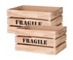 The Home Deco Factory - Cagette en bois brut Fragile (Lot de 2) - Boite de rangement