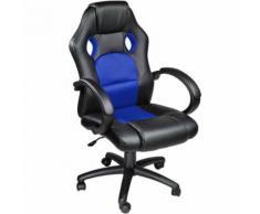 TECTAKE Chaise de bureau, Fauteuil de bureau RACING SPORT Noir / Bleu Rembourrage Épais - Hauteur Réglable - Pivotante - Sièges et fauteuils de bureau