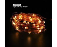 Guirlande lumineuse alimentée par batterie en fil de cuivre Décoration pour Fête Noël Mariage 50LEDs 5m - Luminaires extérieur