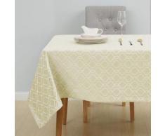 Deconovo Nappes Rectangulaire pour Mariage Nappe Motif Marocain Jacquard Imperméable Exterieur 132x229cm Jaune - Linge de table