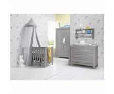 Chambre complète lit bébé 60x120 - commode à langer - armoire 2 portes Florida - Gris - Chambres enfant complètes
