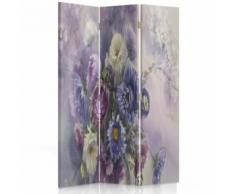 Feeby Paravent imprimé décoratif moderne, 3 panneaux, une face, Bouquet de fleurs 110x150 cm - Objet à poser