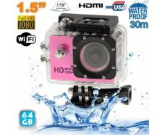 Caméra sport WiFi embarquée plongée caisson 12MP HD 1080P Rose 64 Go - Caméra sport