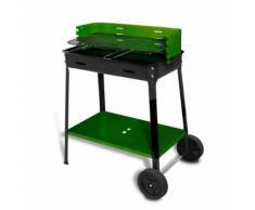 Evergreen barbecue sur roues 35 x 60 x h80 cm grille réglable étagère EG56459 - Cuisiner en extérieur