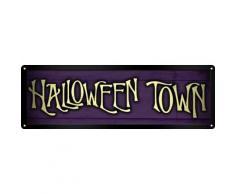 Plaque murale en métal Halloween Town 30.5 x 10.1cm - Décoration murale