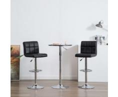 Meelady Tabouret de Bar Hauteur Réglable lot de 2 pcs en simili cuir chaises de bar de Cuisine Stools Moderne noir 44 x 49 x (94-115) cm - Chaise