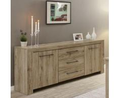 Enfilade contemporaine couleur bois clair ALENA - L 220 x P 45 x H 85 cm - Buffets
