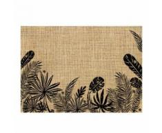 Set de table en toile de jute feuilles noires - Linge de table