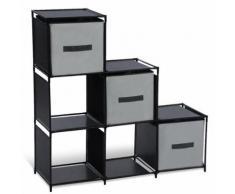 Étagère escalier modulable 6 compartiments noire - Bibliothèques