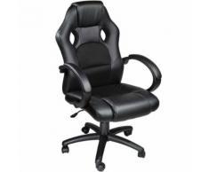 TECTAKE Chaise de bureau Fauteuil de bureau RACING SPORT Noir Rembourrage Épais - Hauteur Réglable - Pivotante - Sièges et fauteuils de bureau
