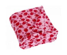 Playshoes couverture polaire fraises 75 x 100 cm rose - Linge de lit