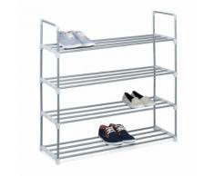 Étagère à chaussures en métal - 4 étages - pour 16 paires de chau - Meubles à chaussures
