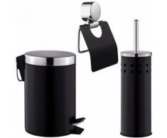 TECTAKE Set de Salle de Bain Toilettes WC Design 3 Pièces Noir: 1 Poubelle, 1 Balayette Brosse, 1 Dérouleur de Papier Toilette - Accessoires de bain