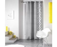 Douceur d'intérieur 1604945 rideau à oeillet polyester imprimée zigzag gris 140 x 260 cm - Accessoires de rangement