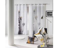 panneau a oeillets 140 x 240 cm voile imprime transfert ny gold des. place - Rideaux et stores