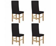 vidaXL Housse de chaise étirable 4 pcs Polyester tissu côtelé Marron - Textile séjour