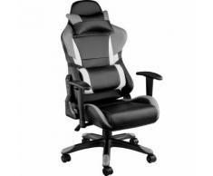TECTAKE Chaise de bureau, Fauteuil de bureau RACING SPORT Rembourrage Épais - Hauteur Réglable - Inclinable Pivotante Gris Noir - Sièges et fauteuils de bureau