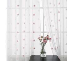 Deconovo Lot de 2 Voilage Blanc Broderie Etoile Rose pour Chambre Salon à Oeillets 140x138cm - Rideaux et stores