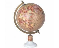 Décoration Globe Terrestre pied en bois et pierre - Objet à poser