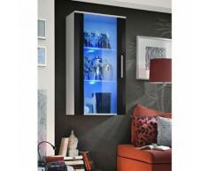 Paris Prix - Vitrine Led Murale Design neo 110cm Blanc & Noir Brillant - Vaisseliers