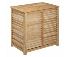 Coffre à Linge en Bambou Double Sicela 58cm Naturel - Meubles de salle de bain