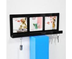 Porte-Courrier Mural et Porte Clé Mural pour le Rangement de Vos Clefs, Lettres et Brochures Porte Cadre Photo pour L'entrée Noir - Armoire