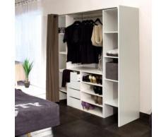 Dressing 2 colonnes + meuble 4 tiroirs blanc, rideau taupe - Armoire