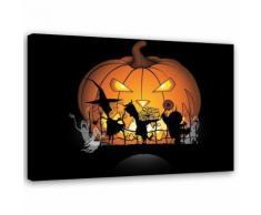 Feeby Tableau imprimé sur toile Image moderne, Citrouille d'halloween 100x70 cm - Décoration murale