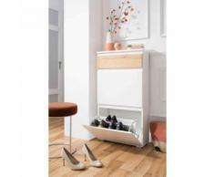 Meuble à chaussures 2 tiroirs en bois coloris blanc et naturel - MC7024 - Meubles à chaussures