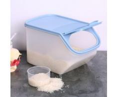 Blusea Organiseurs de tiroirs de cuisine 5L, Récipient de stockage des aliments en plastique, Riz, Fruits, Légumes, Maïs, Porte-contenant avec couvercle rabattable, avec tasse à mesurer - Boite de rangement
