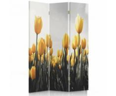 Feeby Séparateur de pièce décoratif Paravent déco, 3 pans une face, Champ Tulipes jaunes 110x150 cm - Objet à poser
