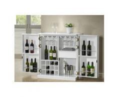 Meuble de bar GORDON - Hévéa & MDF - Coloris blanc - Tables bar