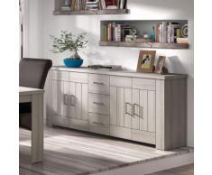 Enfilade 220 cm contemporaine couleur bois clair PAULINE - L 220 x P 40 x H 85 cm - Buffets