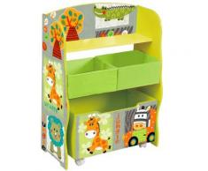 Etagère de rangement enfant en bois coloris vert motif animaux - Dim : H 84 x L 63 x P 30 cm -PEGANE- - Etagères enfant
