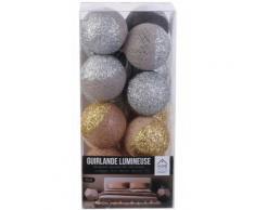 The Home Deco Light - Guirlande lumineuse boules pailletées 16 leds Marron, Gris - Objet à poser