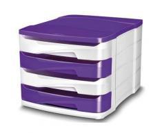 Module de 4 tiroirs Isis blanc et violet - Corbeille, bac à courrier, poubelle