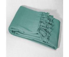 Jete de canape a franges 180 x 220 cm coton tisse lana Menthe - Textile séjour