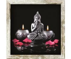 TABLEAU - TOILE BOUDDHA Tableau déco cadre vitrine 20x20 - Bouddha bougies - Décoration murale
